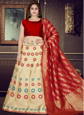 Cream and Red Weaving Readymade Lehenga Choli
