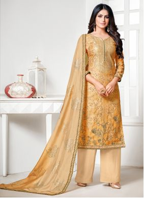 Cream and Yellow Fancy Designer Palazzo Salwar Suit