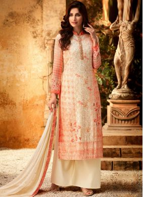 Cream Bamber Georgette  Party Designer Palazzo Salwar Kameez