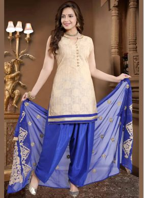 Cream Banglori Silk Readymade Suit