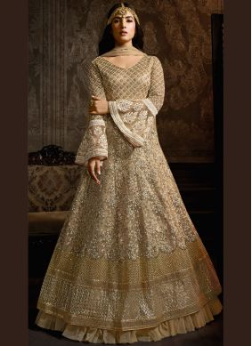 Cream Ceremonial Net Anarkali Salwar Kameez