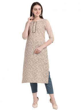 Cream Color Party Wear Kurti