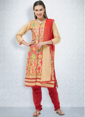 Cream Cotton Churidar Salwar Kameez