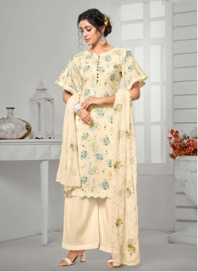 Cream Digital Print Ceremonial Designer Palazzo Salwar Suit