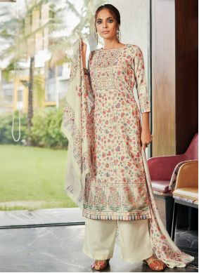Cream Digital Print Salwar Kameez