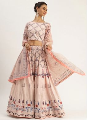 Cream Digital Print Silk A Line Lehenga Choli