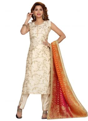 Cream Embroidered Chanderi Readymade Suit