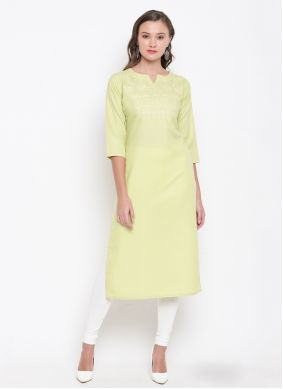 Cream Embroidered Cotton Party Wear Kurti