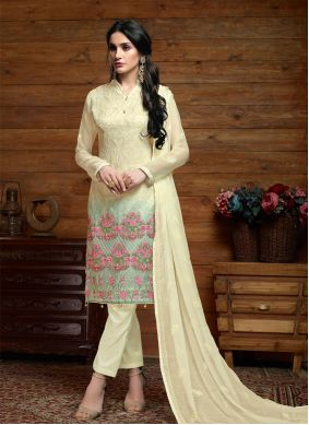 Cream Embroidered Faux Chiffon Trendy Salwar Kameez