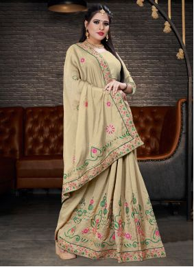 Cream Embroidered Silk Lehenga Saree