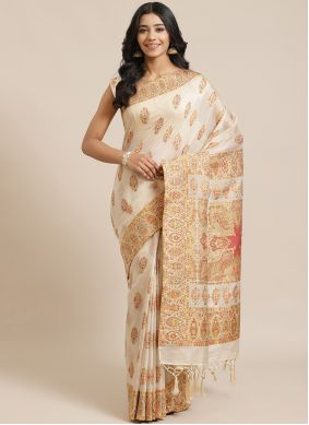 Cream Engagement Designer Traditional Saree