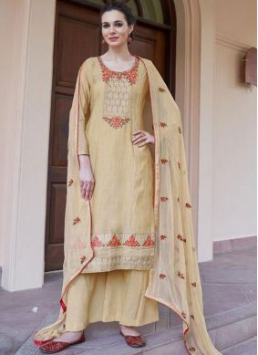 Cream Fancy Fabric Ceremonial Designer Pakistani Suit