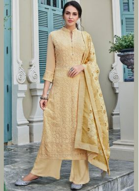 Cream Faux Georgette Embroidered Trendy Palazzo Salwar Kameez