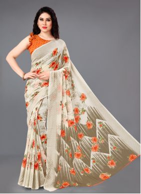Cream Faux Georgette Party Casual Saree