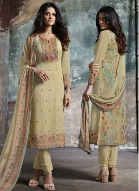 Cream Faux Georgette Print Pant Style Suit