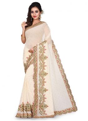 Cream Georgette Designer Traditional Saree