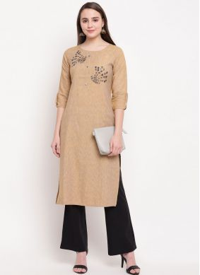 Cream Handwork Rayon Party Wear Kurti