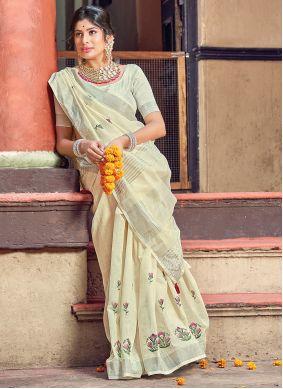 Cream Linen Classic Saree