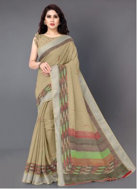 Cream Linen Printed Traditional Saree
