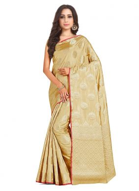 Cream Mehndi Art Silk Designer Traditional Saree