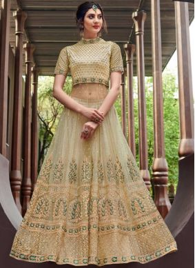 Cream Net Designer Gown