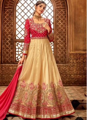 Cream Net Festival Anarkali Suit