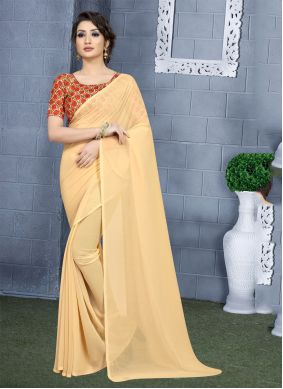Cream Party Faux Georgette Casual Saree