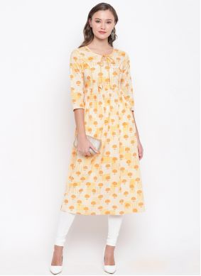 Cream Party Party Wear Kurti