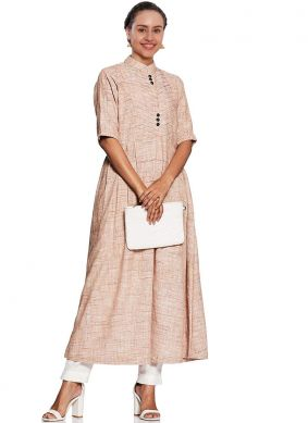 Cream Plain Fancy Fabric Party Wear Kurti