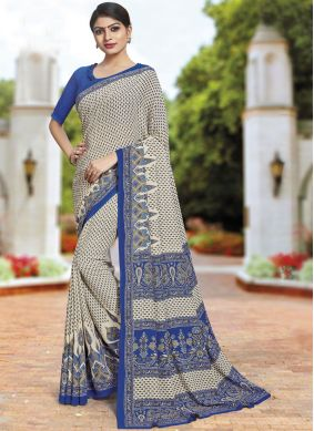 Cream Polly Cotton Casual Saree