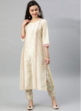 Cream Poly Silk Casual Kurti