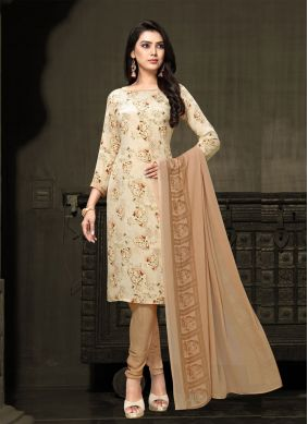 Cream Printed Designer Salwar Suit