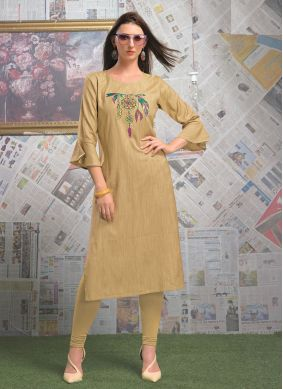 Cream Rayon Ceremonial Party Wear Kurti