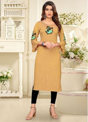 Cream Rayon Embroidered Party Wear Kurti