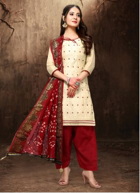 Cream Resham Chanderi Salwar Suit