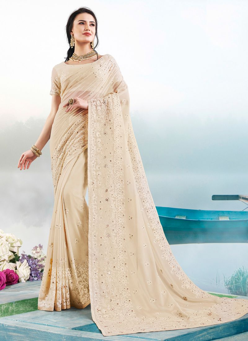 Cream Resham Faux Georgette Trendy Saree