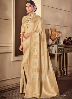 Cream Silk Ceremonial Classic Saree