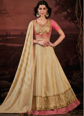 Cream Silk Trendy Lehenga Choli