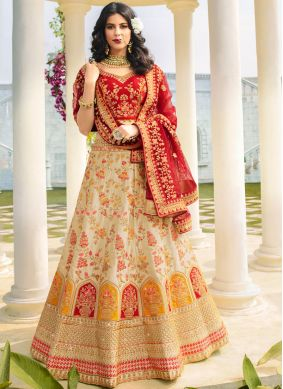 Cream Wedding A Line Lehenga Choli