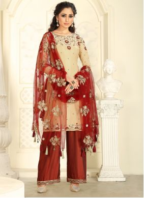 Cream Zari Raw Silk Salwar Kameez