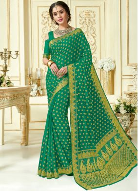 Crepe Silk Designer Traditional Saree in Sea Green
