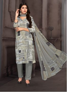 Crepe Silk Printed Pant Style Suit in Multi Colour