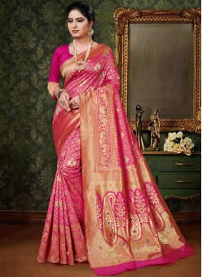 Customary Art Silk Hot Pink Designer Traditional Saree