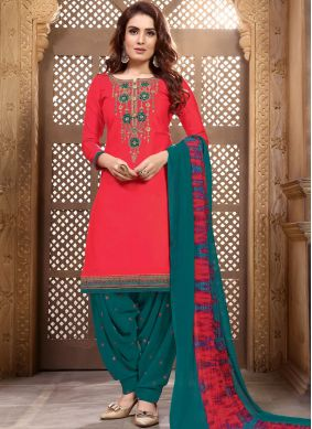 Customary Embroidered Faux Georgette Rose Pink Designer Patiala Suit