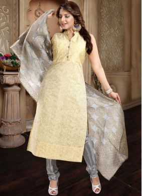 Customary Silk Plain Yellow Churidar Salwar Kameez