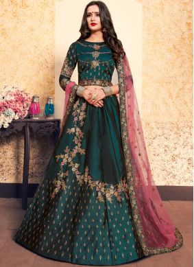 Customary Zari Satin Teal Designer Lehenga Choli