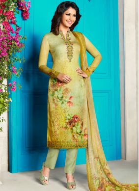 Cute Cotton Satin Yellow Churidar Designer Suit