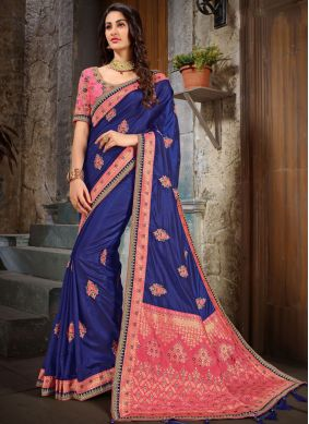 Cute Embroidered Art Silk Blue and Peach Classic Saree