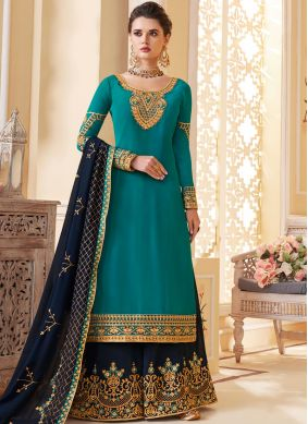 Cute Georgette Embroidered Designer Palazzo Salwar Suit