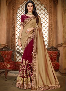 Cute Patch Border Beige and Maroon Saree
